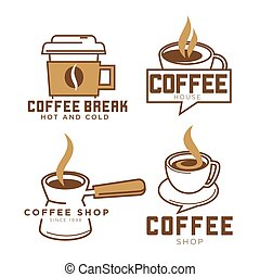 Coffeeshop coffee cup vector icons templates set for cafe or...