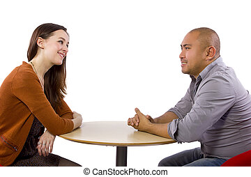 Coffeeshop Date - interracial couple on a casual coffeeshop...
