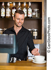 coffeeshop, kantor, barista, gesturing