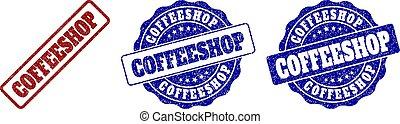COFFEESHOP Scratched Stamp Seals - COFFEESHOP grunge stamp...