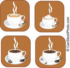 Coffee,tea icons - coffee, tea and hot chocolate icons,...