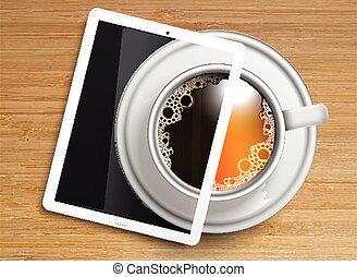 coffee/tea, tablette, tasse