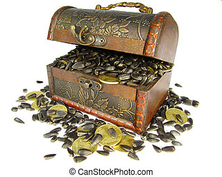 coffer filled with grain and coins - coffer filled with ...