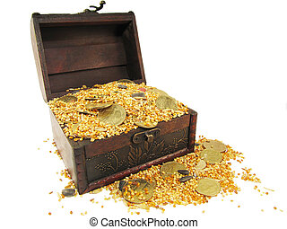 coffer filled with grain and coins