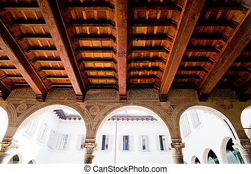 Coffered wood ceiling, Milan - Italy