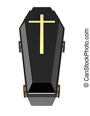 Coffin - Black coffin, isolated on white, 3d render