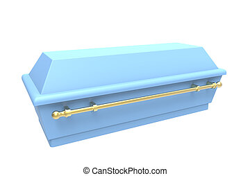 Coffin - Blue coffin, isolated on white, 3d render