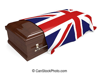 Coffin covered with flag of UK