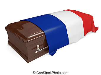 Coffin covered with France flag