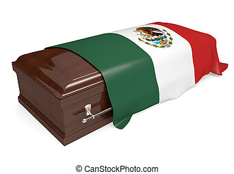 Coffin covered with Mexico flag