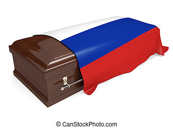 Coffin covered with Russia flag