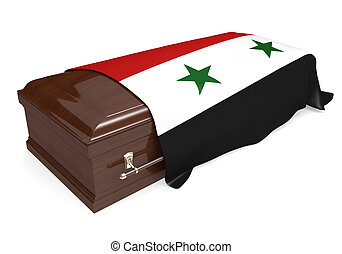 Coffin covered with Syria flag