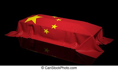 Coffin covered with the flag of China