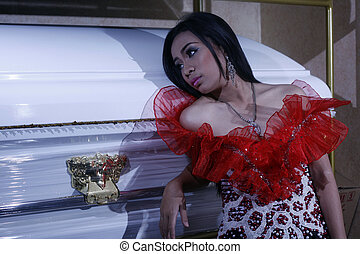 Coffin Endorser - Young lady model pose leaning on the...