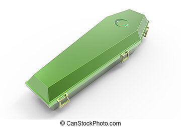 Coffin - Green coffin, isolated on white, 3d render