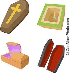 Coffin icon set, cartoon style