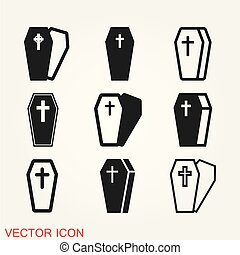 Coffin icon vector, illustration isolated on background