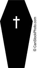 Coffin lid with a cross on it