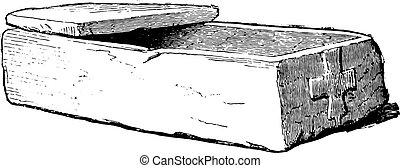 Coffin of Gallo-Roman stone, vintage engraving.