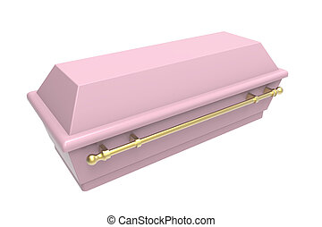 Coffin - Pink coffin, isolated on white, 3d render