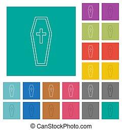 Coffin square flat multi colored icons