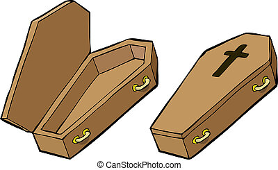 Two coffins on a white background vector illustration