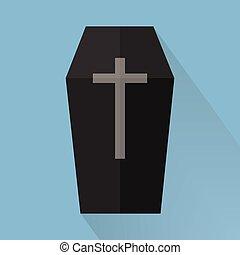 Coffin Vector, halloween, flat design, long shadow.