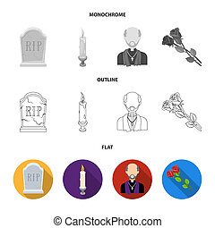 Coffin with a lid and a cross, a photograph of the deceased with a mourning ribbon, a corpse on the table with a tag in the morgue, death in a hood. Funeral ceremony set collection icons in flat, outline, monochrome style bitmap symbol stock illustration web.