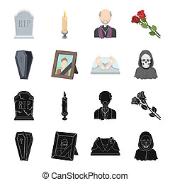 Coffin with a lid and a cross, a photograph of the deceased with a mourning ribbon, a corpse on the table with a tag in the morgue, death in a hood. Funeral ceremony set collection icons in black, cartoon style bitmap symbol stock illustration web.
