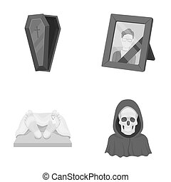 Coffin with a lid and a cross, a photograph of the deceased with a mourning ribbon, a corpse on the table with a tag in the morgue, death in a hood. Funeral ceremony set collection icons in monochrome style raster, bitmap symbol stock illustration web.