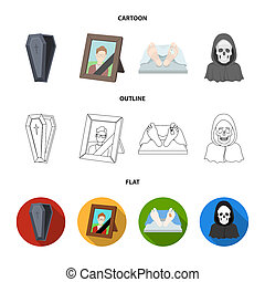 Coffin with a lid and a cross, a photograph of the deceased with a mourning ribbon, a corpse on the table with a tag in the morgue, death in a hood. Funeral ceremony set collection icons in cartoon, outline, flat style bitmap symbol stock illustration web.