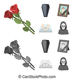 Coffin with a lid and a cross, a photograph of the deceased with a mourning ribbon, a corpse on the table with a tag in the morgue, death in a hood. Funeral ceremony set collection icons in cartoon, monochrome style bitmap symbol stock illustration web.