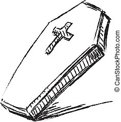 Coffin with cross isolated on white. Sketch illustration