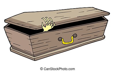 Coffin with waving hand - isolated illustration.