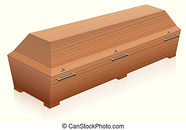 Coffin Wooden Casket - Coffin - massive, solid, light brown...