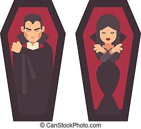 coffins., apartamento, dress., vampiros, personagem, dia das bruxas, dois, ilustração, dormir, pretas, gótico, menina, capa, homem