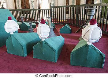 Coffins in an old Turkish mausoleum
