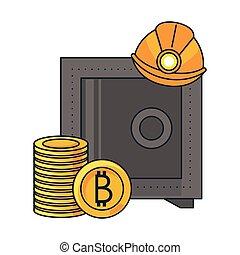 coffre-fort, exploitation minière, sécurité, bitcoin