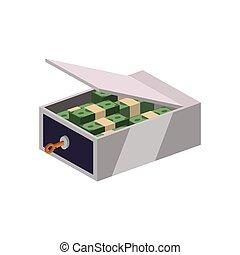 coffre-fort, graphique, argent, vecteur, sécurité, factures, icon.
