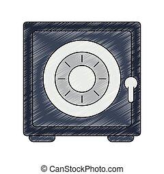 coffre-fort, sécurité, gribouiller, symbole, argent
