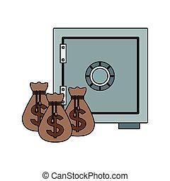 coffre-fort, sacs argent