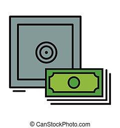 coffre-fort, symbole, argent
