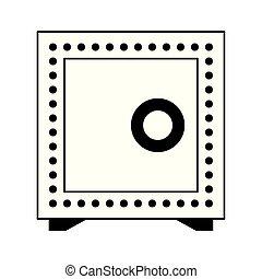 coffre-fort, symbole argent, isolé, noir, sécurité, blanc