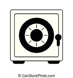 coffre-fort, symbole argent, noir, blanc, sécurité