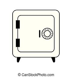 coffre-fort, symbole, blanc, noir, sécurité