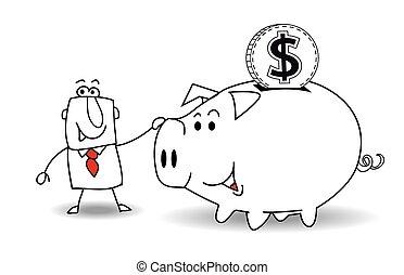 cofre, e, dólar