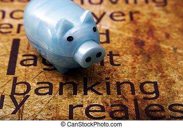 cofre, e, operação bancária, conceito