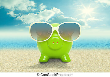 cofre, em, óculos de sol, praia, -, férias, conceito