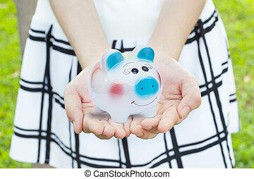 cofre, em, hand.concept, dinheiro, saving.