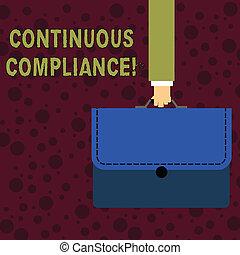 cofre, pasta, compliance., proactively, foto, mostrando, contínuo, escrito homem negócios, meio ambiente, carregar, saúde, manter, applique., texto, conceitual, portfolio, mão, negócio, coloridos, cuidado